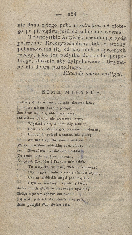 Debiut Poetycki Mickiewicza Zima Mieyska W Tygodniku
